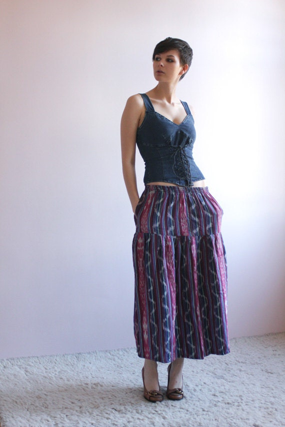 Tribal ikat maxi skirt in purples