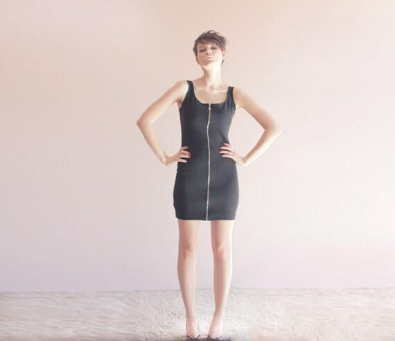 Black zipper body con dress 80s