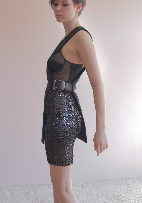 Black sequin tube skirt