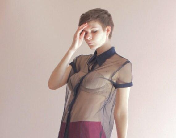 Fully sheer mesh blouse
