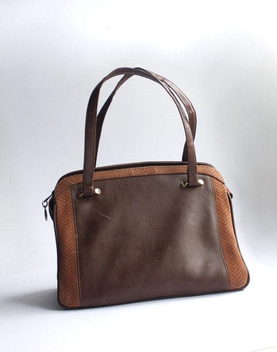 Small brown leather lady handbag