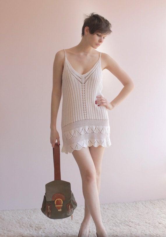 White knit see thru tank dress
