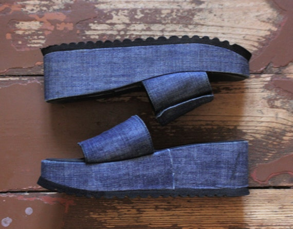 Blue denim platform flats from 90s