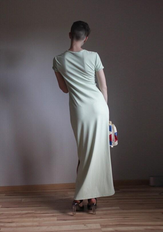 Light mint long simple maxi dress