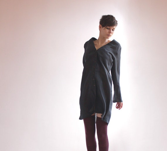 Tunic blouse in grey navy