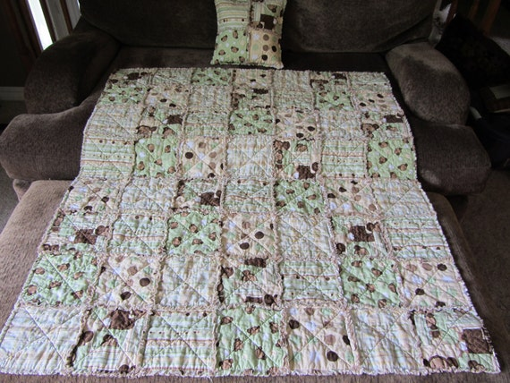 Baby Rag quilt and rag pillow- Monkey theme