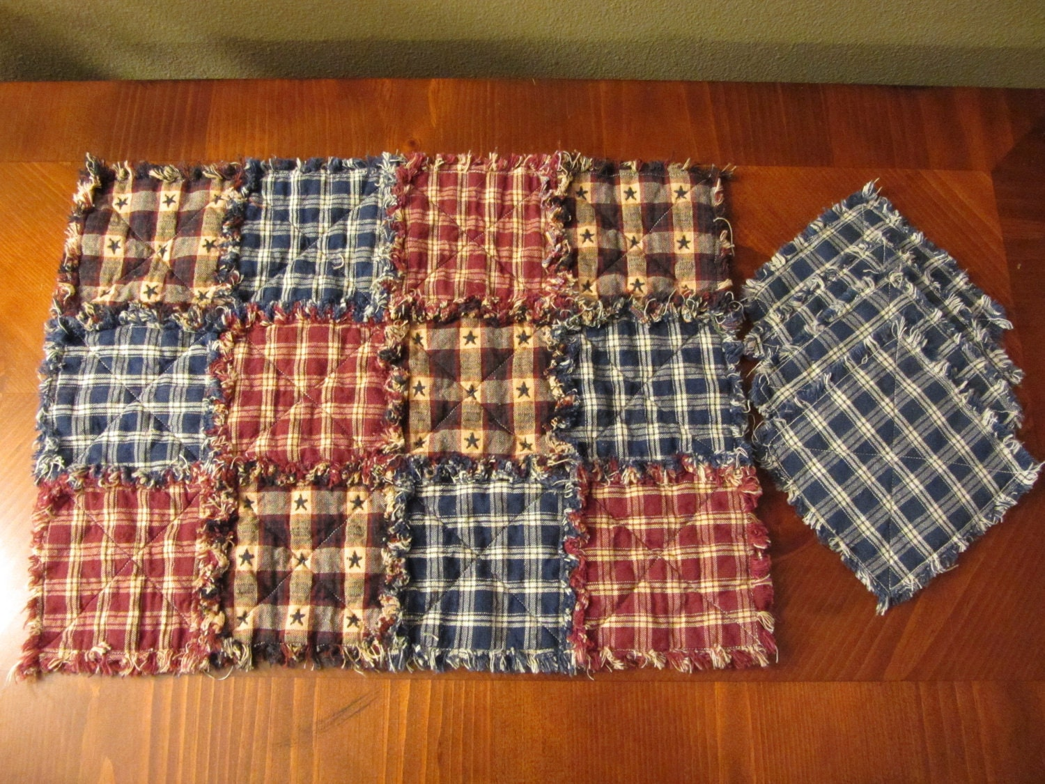 Homespun Rag Quilt Placemats And Coasters Set Of 4