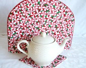 Peppermint  Candy Tea pot coffee pot cozy / cozie   - red and green