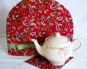 Paisley  Teapot Cozy / cozie - Red and green