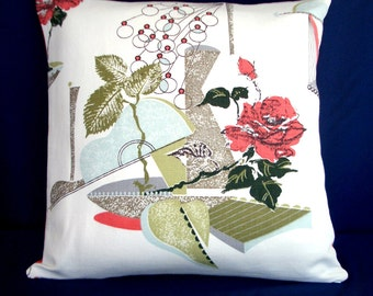 """Vintage Barkcloth Pillow cover 18"""" square -Mid Century Eames Era Retro  with metallic gold accents salmon back"""