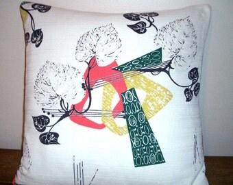 "Mid century Modern barkcloth 18"" sq pillow cover -  Eames era atomic print   White with salmon and green"
