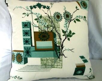 "Vintage barkcloth  Pillow cover for 18"" square  pillow -designer toss piilow Atomic Retro  Green on white"