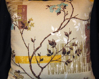"""Vintage taupe yellow brown white barkcloth  Pillow branches and leaves  with metallic gold stripes 18"""" OOAK"""