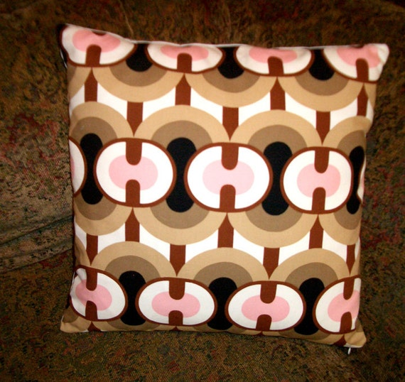 """SALE  Pillow Cover  Mod Pink Brown accent designer pillow cover 16"""" square  - Alexander Henry  Ringo Fabric"""