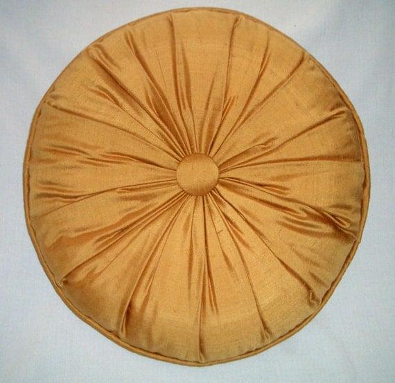 Round pillow silk 16 orange gold silk dupione