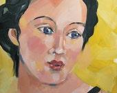 Daydream, Female Portrait, Original Oil Painting, 6 x 6