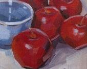 Rome Apple, Blue Bowl, Kitchen Art, Original Oil Painting, linen panel