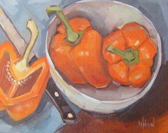 Orange Bell Peppers, Original Oil Painting, Linen Panel