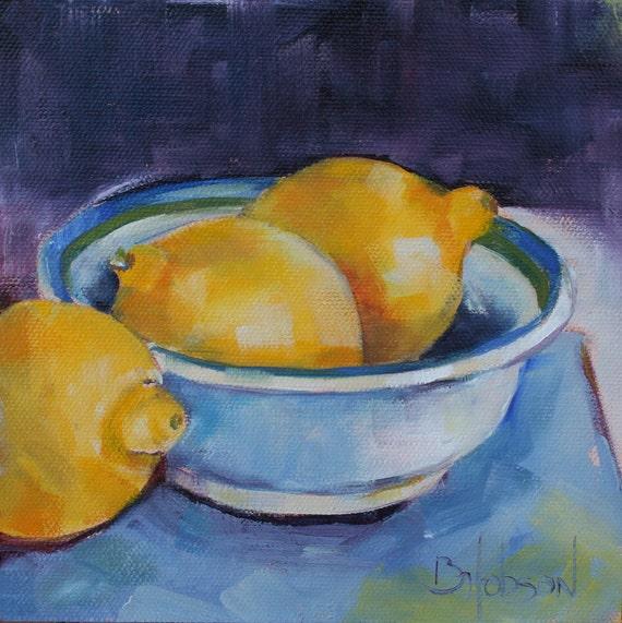 Three Luscious Lemons, Original Oil Painting, 6 x 6
