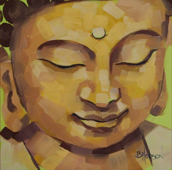 Buddha Face in Shades of Gold, Original Oil Painting, 6 x 6