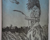 Etching of Girl in field with birds