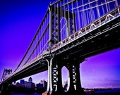 Manhattan Bridge  16x24 Pro Metallic print custom mounted matted and framed 100% made in the USA