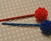 PATRIOTIC Red and Blue MUM Flowers on matching bobby pins - SET of 2