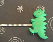 DINOSAUR - GREEN for your hair on Antiqued Silver Bobby Pin - RETRO Fun