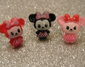 Minnie's Set of 3 Rings - Black, Pink, and Red on Silver adjustable rings