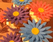 Fondant Colored 3D Daisies Cupcake and Cake Decorations/ toppers. One Dozen.