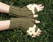Sale 50% OFF -  Fingerless gloves, Size M, with flowers, military green and vanilla, wool and acrylic, hand knitted