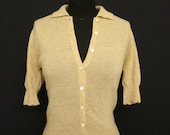100% Pure Cashmere Oatmeal Colored Vintage Short Sleeve Sweater Cardigan With Scalloped Edges