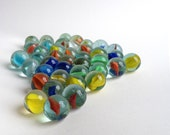 40 colourful fun vintage glass marbles
