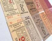 Vintage British tickets (12), set in warm hues