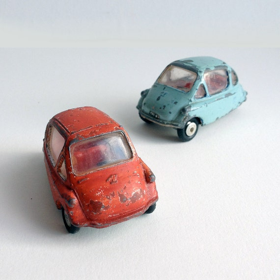 SALE /// Two small Vintage very cute Corgi Heinkel Bubble Toy Cars