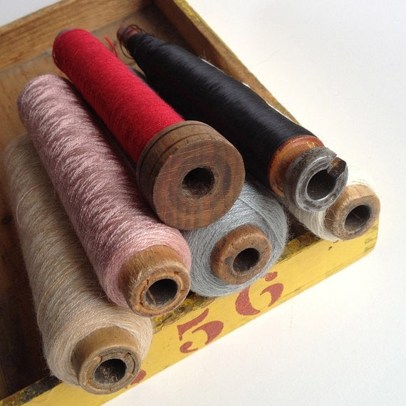 6 Vintage wooden textile bobbins spools with thread