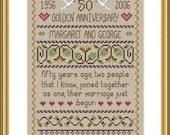 INSTANT DOWNLOAD Golden Wedding Cross Stitch Sampler PDF Chart