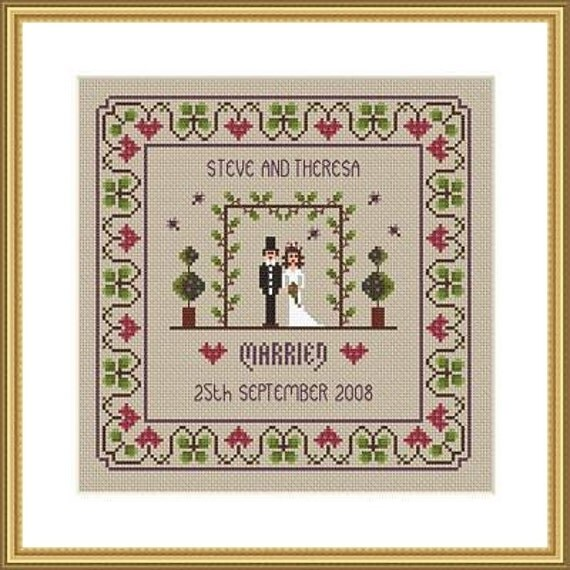 instant download wedding cross stitch sampler pdf chart