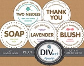 """PRINTABLE Premade 2"""" Product Labels - PL001 - Thank you notes, Address labels, Stickers - for Avery labels, not only for your Etsy Shop..."""