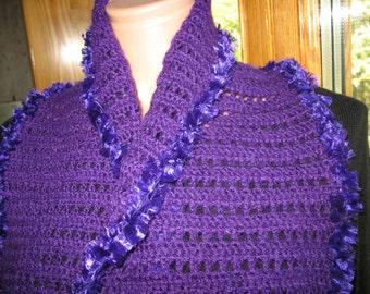 Crocheted Scarf in Soft Purple Angora