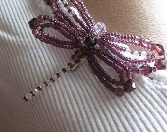 Beaded Dragonfly Brooch  in Purple Summer Gift Jewelry Art Souvenir