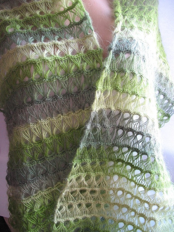 Scarf in Shades of Green Mohair Openwork eco friendly cuddly fluffy and soft