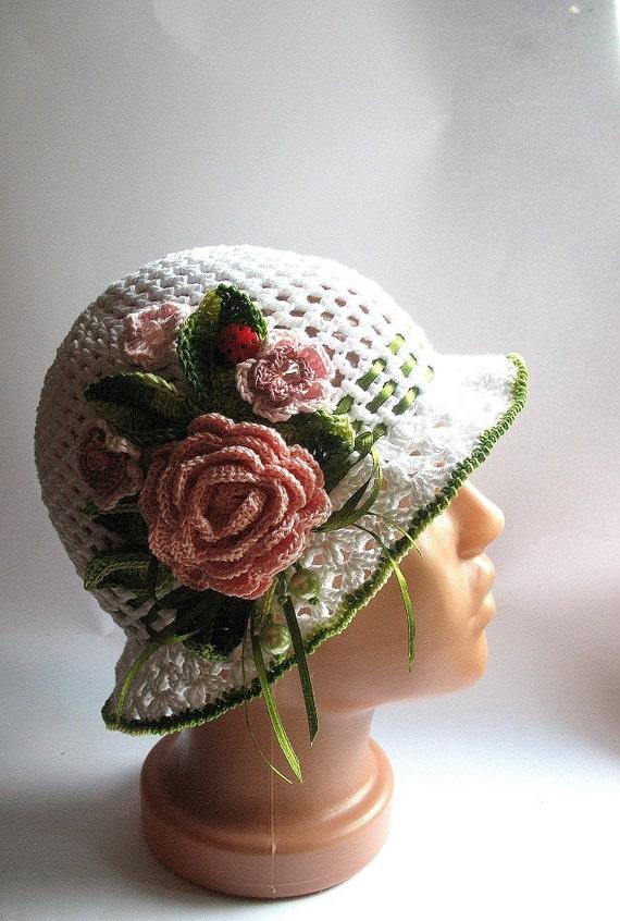 Custom Order Hat Brim in White with Flowers Crochet