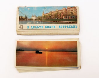 Vintage Russian Postcards Astrakhan City, Set of 21 Photo Postcards, 1976