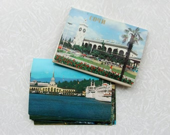 16 Vintage Photo Postcards Sochi, Russian City, 1981