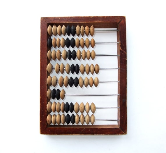 "Vintage Wooden Abacus - Russian Soviet calculator (7"" x 5,3"")"