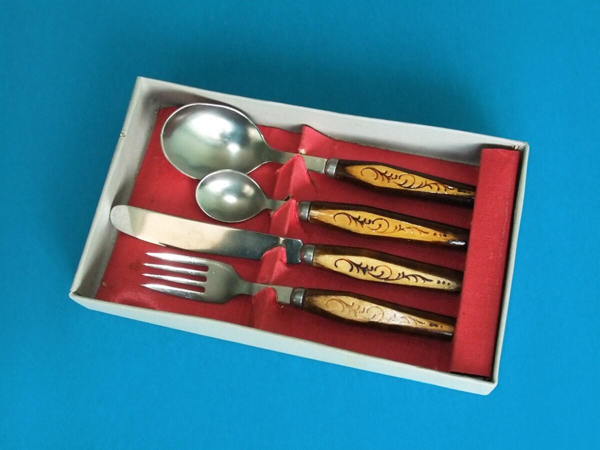 Vintage flatware set with wooden handles cutlery stainless - Flatware with wooden handles ...
