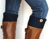 Crochet Boot Cuffs in Navy Blue w/ Button