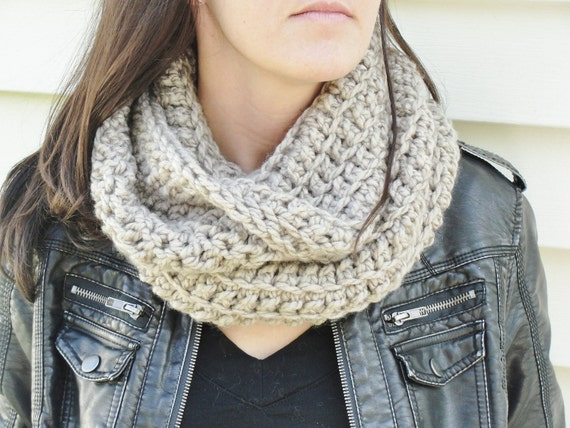 Crocheted Cowl Scarf/ Neck Warmer in Taupe