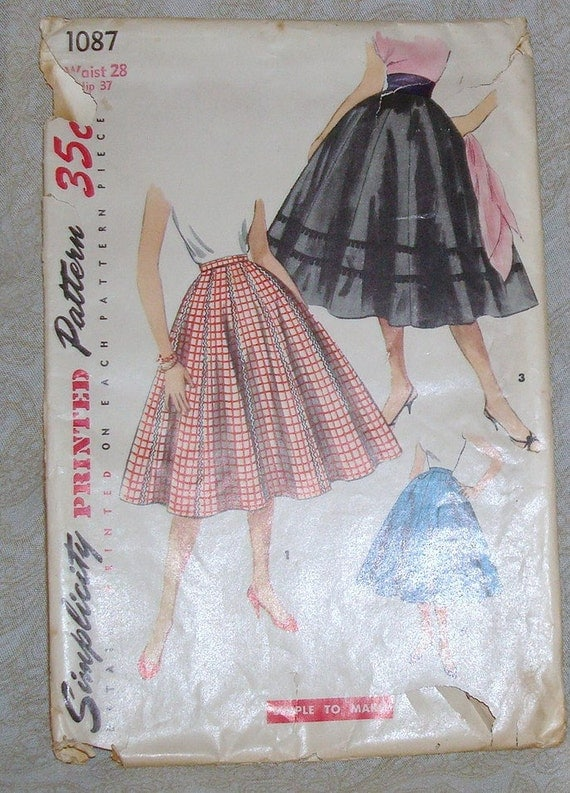 Vintage Late 1940's Simplicity Skirt Pattern